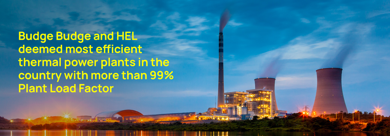 Budge Budge and HEL deemed most efficient thermal power plants in the country with more than 99% PLF